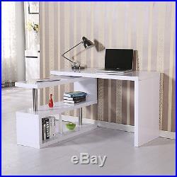 Computer Desk Bookcase Workstation Storage Shelf Corner L Shape Adjustable Pivot