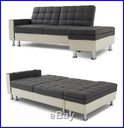 Corner L-shape Ottoman Faux Leather Sofa Bed Settee with ...