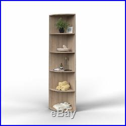 Corner Shelving Unit Modern Bookcase Tall Display Shelf Home Storage Furniture
