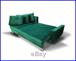 Corner Sofa Bed Storage Sprung Seat Green Fabric Quilted Cushions FREE Assembly