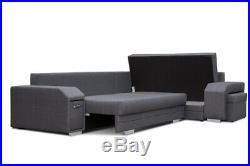 Corner Sofa Bed with Storage Pouffe Bar Sprung Seat in Grey Fabric FREE Assembly