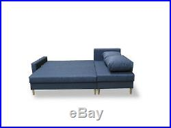 Corner Sofa Bed with Storage in Grey Fabric Scandinavian Style FREE Assembly