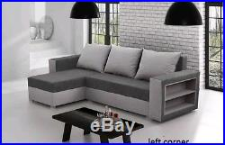 Corner sofa bed Grey fabric sleeping option living room storage