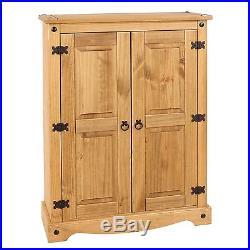 Corona 2 Door Cupboard Storage Unit Cabinet Solid Medium Wood Mexican Pine