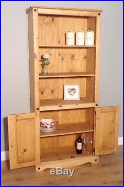 Corona Bookcase 2 Door Large Display Storage Pine by Mercers Furniture