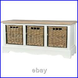Country Style Ivory Brown Hallway Furniture Wooden Storage Basket Bench