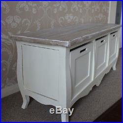 Cream painted vintage 3 drawer storage bench shabby vintage chic furniture home