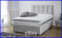Crushed Velvet Divan Base With Under Bed Storage Colour Option All Sizes