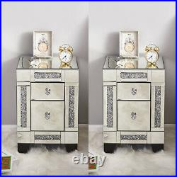 Crystal Mirrored Glass Bedside Table Unit Storage Cabinet Chest of 3 Drawers UK