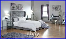 Dakota Platinum Silver Fabric Ottoman Storage Bed with Solid Base 4ft6 & 5ft