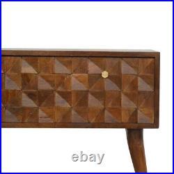 Dark Wood Chestnut Diamond Carved Door Storage Bench Hallway TV Stand Media Unit