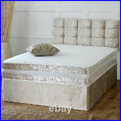 Dazzling Crushed Velvet Divan Bed Base Drawers Storage Small Double King