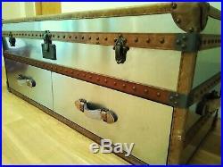Decorative large steel & Leather storage trunk