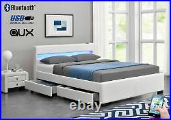 Designer Single Bed White Leather Storage Led Speaker Bluetooth Usb Aux