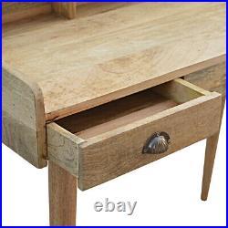 Desk Light Mango Wood Storage Drawers Brass Handles Scandinavian