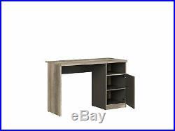 Desk Oak Grey Finish Computer Study Home Office Cupboard Storage Shelf Melton