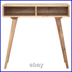 Desk Small Compact Light Mango Wood Storage Open Shelves Scandinavian