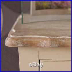 Devon 3 Drawer Storage Bench in French Style Shabby Chic Cream Painted Finish