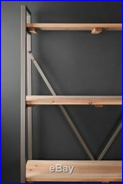 Display Shelf Industrial Style Grey Metal Wood Shelving Bookcase Storage Tapered