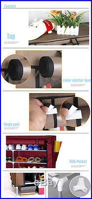 Double 7 Tier Shoe Cabinet Standing Storage Organizer Shoe Rack Holder Shelf