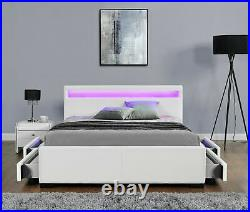 Double Bed Storage White Leather 4 Drawer Led Speaker Bluetooth Usb Aux New