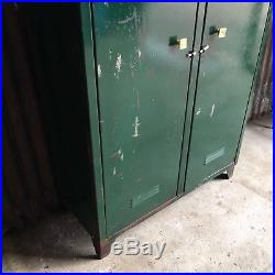 Double Green Industrial Vintage Lockers, Upcycled Funky Retro Storage Cupboard