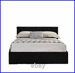Double Ottoman Bed Lift Up Storage Bed BLACK Mattress Optional Caspian