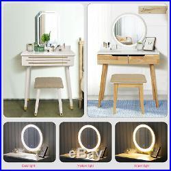 Dressing Table Makeup Desk Stool Set Adjustable LED Light Mirror Drawer Storage