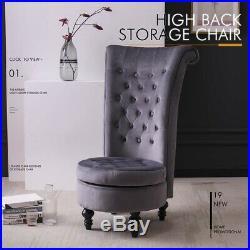 Dressing Table Stool Chair Velvet Throne Fireside Chair High Back with Storage