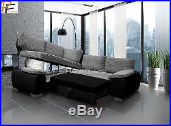 Prime Enzo Corner Sofa Bed With Storage Black Grey Jumbo Fabric Gmtry Best Dining Table And Chair Ideas Images Gmtryco