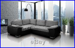 Enzo Corner Sofa Bed With Storage Black/grey -jumbo Fabric & Faux Leather