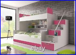 FANTASTIC DESIGN Children Bunk bed''ROY2'' HIGH GLOSS with drawer and storage