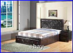 FAUX LEATHER OTTOMAN STORAGE GAS LIFT BED 3ft Single 4ft6 Double 5ft King Size