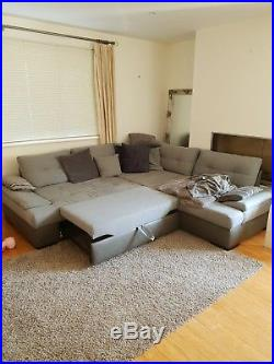 Fabric corner L-shape sofa + bed + storage, grey
