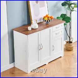 Farmhouse Kitchen Storage Cabinet Sideboard with 3 Door 2 Drawer Buffet Cupboard