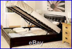 Faux Leather Bed Frame Black King Size (160 cm) With Storage Space Modern Sturdy