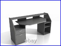 Felix' Large PC Gaming Desk Table Workstation With Shelves Storage Dark Grey