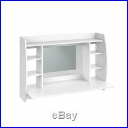 Floating Wooden Dressing Table Vanity Makeup Desk with Mirror/Storage Shelves