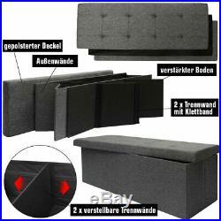 Folding Ottoman 110x38x38cm XXL 120L rectangular Storage Bench upholstered Grey