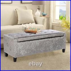 Folding Storage Ottoman Velvet Window Seat Piano Bench Bedroom Stools Sofa Chair