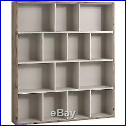 French Mushroom Grey Shabby Vintage Chic Multi Shelf Wall Storage Book Unit #