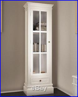 French White Bookcase Tall Vintage Furniture Display Storage Cabinet Glass Shelf