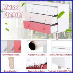 Girls Chest of Drawers White Pink Sideboard Retro Bedroom Furniture Kids Storage