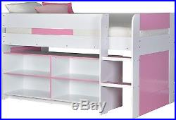 Girls Mid Sleeper Bed in Pink White Shelving Unit Bedroom Bed Storage Kids  sc 1 st  Childrenu0027s Bedroom Storage & Girls Mid Sleeper Bed in Pink White Shelving Unit Bedroom Bed ...