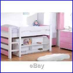 Girls Pink + White Seconique Lollipop Bunk Bed, Kids Mid Sleeper + Storage