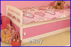 Girls Pink & White Wooden 3FT Bed Frame Drawers Storage Single Kids Bedroom NEW