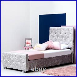 Girls Princess Crushed Velvet Single Bed Frame Under Bed Storage- Pink / Silver