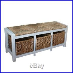 Gloucester 3 Seater Hall Bench with Wicker seats & shoe storage in stone white