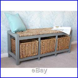 Gloucester 3 Seater Storage Bench Wicker Rattan Basket Drawers Cabinet Farmhouse