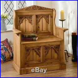 Gothic Old Wood Pine Monks Bench Pew Settle Lift Up Lid For Storage